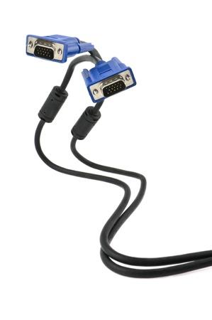 vga: Cable VGA en el fondo blanco