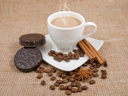 coffee and milk, cinnamon, anise and biscuits on a background sacking photo