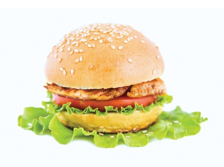 a hamburger  lies on the green sheet of lettuce on a white background Stock Photo - 13808021