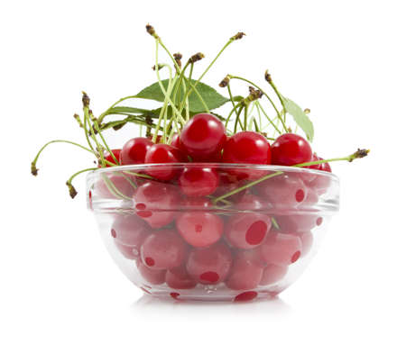 cherry with a branch on a dish Stock Photo - 13807942