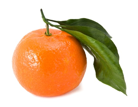 tangerine with a green branch on a white background photo