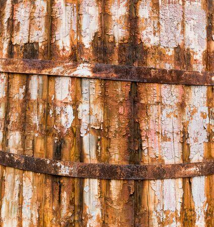 ferruginous: texture of old wooden barrel with ferruginous rings