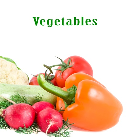 garden radish, tomato, pepper and vegetable marrow on a white background Stock Photo - 14587442