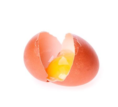 egg broken on the white Stock Photo