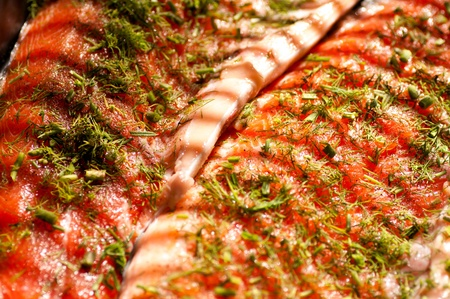 steak fish salmon crude sprinkled with dill closeup photo