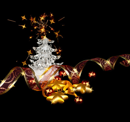 organza: Christmas stars,balls and fur-tree on a black background Stock Photo