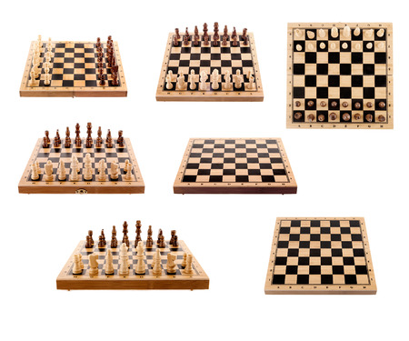 set of chess Board and pieces isolated