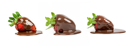 set of strawberry lies in the chocolate isolated Stock Photo