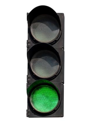 semaforo peatonal: se�al verde del sem�foro en el aislamiento
