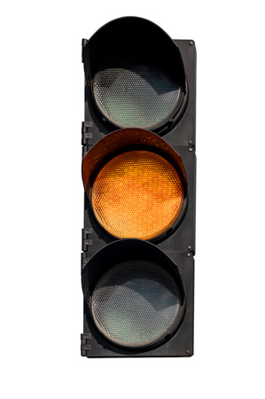 yellow signal of the traffic light in isolation