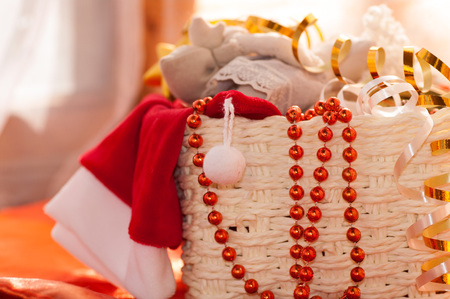 falling out: from baskets hanging down and falling out Christmas toys Stock Photo