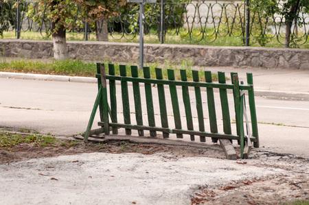 blocking: wooden fence blocking the way