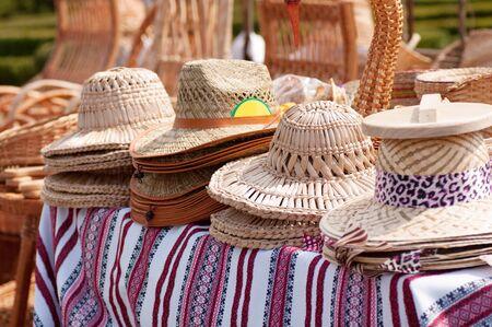 straw hat market trade Stock Photo