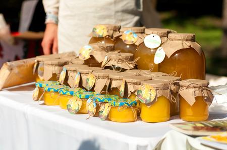 honey in the banks at the honey festival Stock Photo