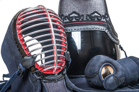 protective equipment 'bogu' for Japanese fencing Kendo training close-up Stockfoto
