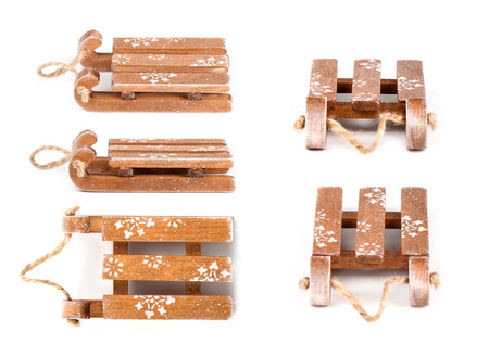 set of sledge of wood toy different angle isolated