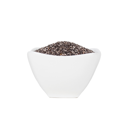 chia seeds in a white plate isolated