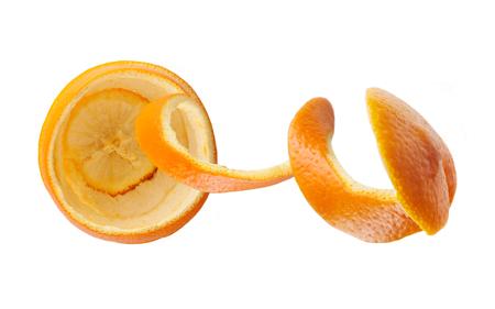 orange peel spiral, orange shape, top view, isolated on white background