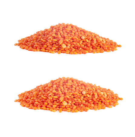 red lentils heap, close-up, set of two photos, isolated on white background Stock Photo
