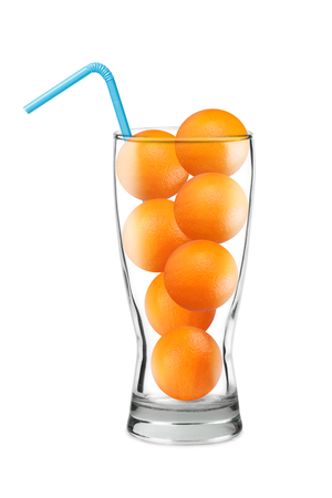whole orange in a glass, blue cocktail tube, clipart concept isolated on white