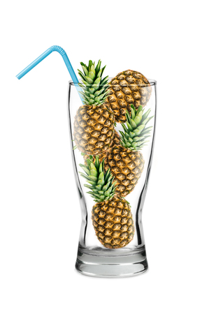 whole pineapple in a glass, blue cocktail tube, clipart concept isolated on white