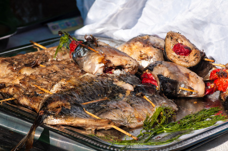 grilled fish, street food during the holiday