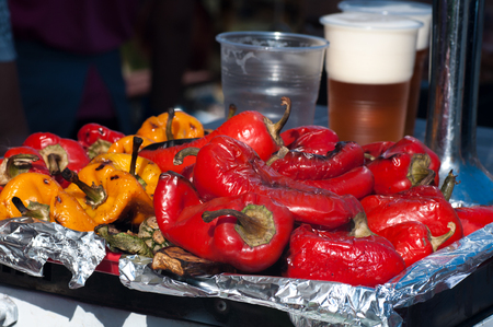 grilled bell pepper, street food during the holiday, cold appetizer
