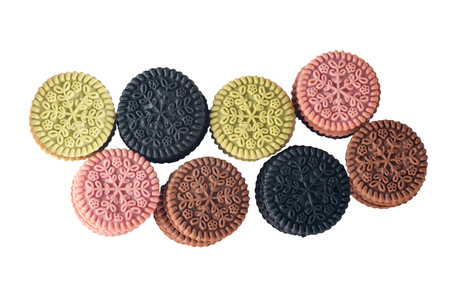 black, pink, coffee, mint color biscuits, round biscuits isolated on white