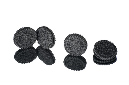 black round cookie with reflection effect isolated on white