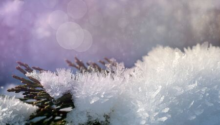 fluffy snow with crystals in nature, snowy winter background Stock fotó - 129831403