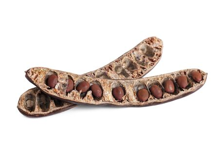 Seeds of a carob pod, close-up, top view, isolated