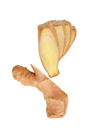 ginger root, sliced, top view isolated on a white background