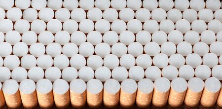 cigarette filters background in a row
