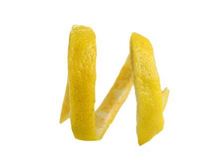 fresh lemon peel twisted isolated on white