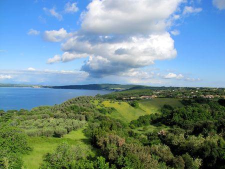 Beautiful lake in Bracciano Italy