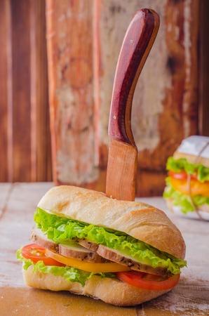 picnick: Summer picnick concept. Homemade tasty sandwich Stock Photo