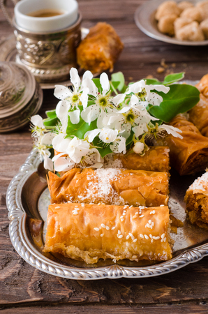 Homemade baklava with nuts and honey syrup Stock Photo