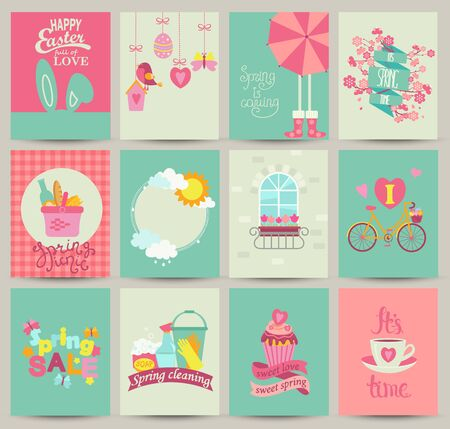 Collection of 12 Spring card templates.Spring Posters set. Vector illustration. Template for Greeting Scrapbooking, Congratulations, Invitations.