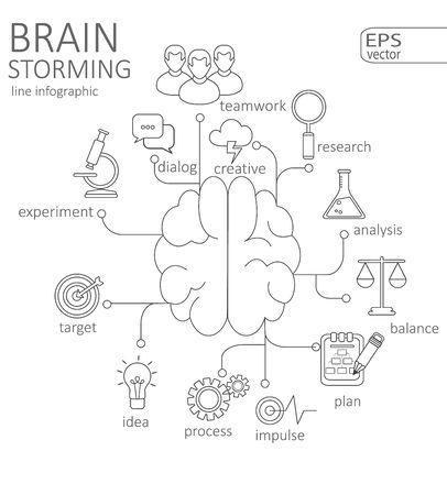 brain storming: Simple mono linear pictograph Info-graphic Brain storming concept. Stroke vector logo concept, web graphics. Vector Illustration. Illustration