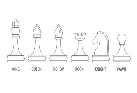 pawn king: Set of chess pieces - pawn, rook, Bishop, knight, Queen, king, vector illustration.