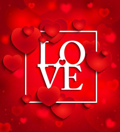 Glücklicher Valentinstag und Jäten Design-Elemente. Vektor-Illustration Einladung, Menü, Flyer, template.Red Hintergrund mit Herz, Schriftzug Liebe und Rahmen. Vektorgrafik