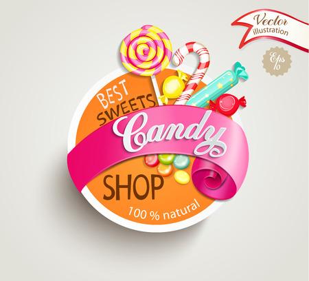 Papieren snoepwinkel label met lint, vector illustratie.