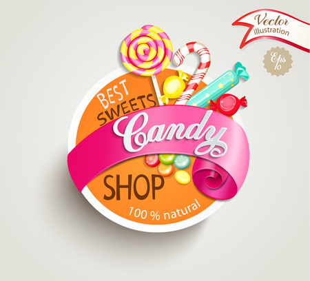Paper candy shop label with ribbon, vector illustration.