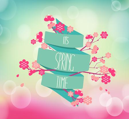 vector illustratie van de lente seizoen, kersenbloesems op een achtergrond van vintage lint met de inscriptie De lente komt eraan