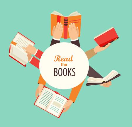 Vector set van handen die boeken - pictogrammen in flat retro-stijl met cirkel frame voor tekst ontwerp.