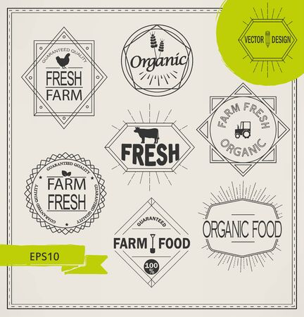 food industry: Vector agriculture and organic farm fresh line- set of design elements and badges for food industry in outline style.