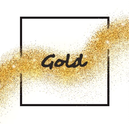 falling star: Vector golden sparkling falling star with frame on white background. Gold glittering wave for card.