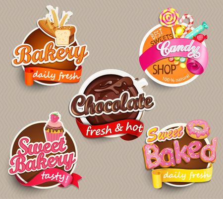 Tiquette alimentaire ou autocollant - boulangerie, chocolat, doux au four, bonbons, boulangerie douce - Modèle de conception. Vector illustration. Banque d'images - 51643039