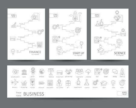 brain research: Modern thin line icons set and infographics of finance, science, start up concept. For web, internet, mobile apps, interface design.