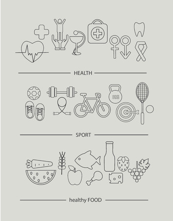 basket icon: Modern thin line icons set of healthy lifestyle concept. Simple mono linear pictogram pack of health, food and sport. Illustration